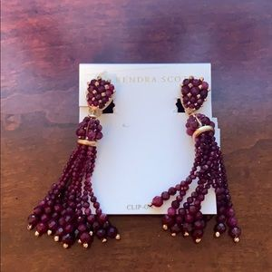 NWT Kendra Scott Cecily Clip On earrings maroon
